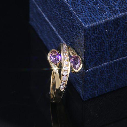 Women's Ring Elegant Zircon Inlaid OL Fashion Solid Color Rhinestone Infinite Charming Jewelry Accessory