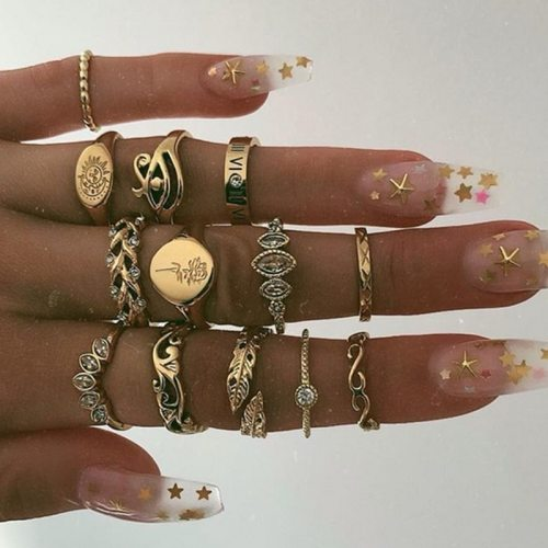 13 Pieces Women's Rings Set Retro Rhinestone Leaf Simple Personality Floral Basic Casual Accessories Hollow out