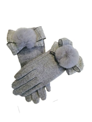 Women's Warm Gloves Elegant Stylish Design Color Bow Decor Hand wash Touchscreen Solid