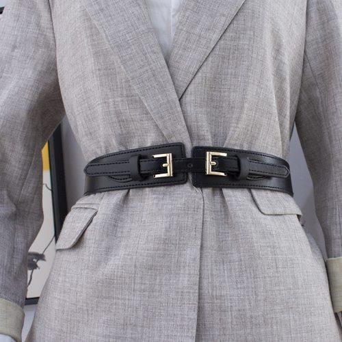 Women's Corset Simple Elastic Elegant Others Patchwork One-loop OL Normal2-4cm cinch belt Wipe clean Metal Decoration Fashion