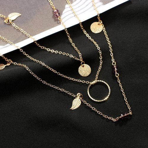 Women's Multi-Layer Necklace Ring Leaf Decor Alloy Elegant Accessory Fashion Geometric Top Fashion Metal Decoration
