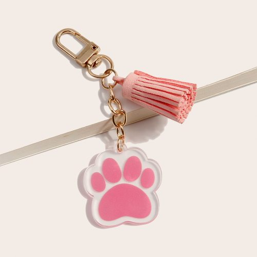 Men's Key Ring Cute Paw Pendant Key Tassel Top Fashion Accessories