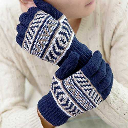 Men's Gloves Fashion Casual Warm Riding Velvet-Added Accessory Hand wash Embroidery Vintage Outdoor Striped