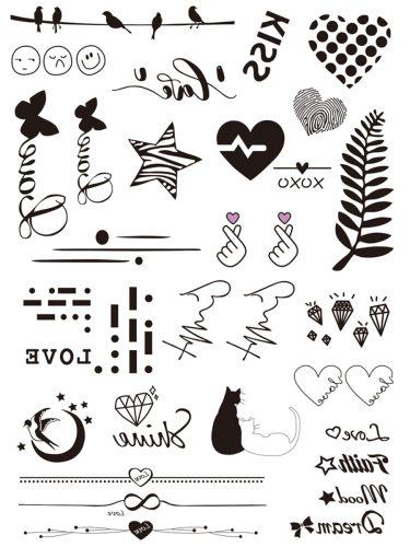 2 Pcs Women's Tattoo Sticker Set Lovable Cartoon Pattern Waterproof Animal Vintage