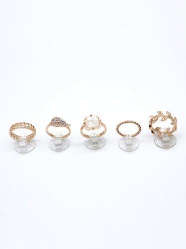 5Pcs Women's Rings Set Distinctive Pink Leaf Shape Polished Stylish Basic Accessories