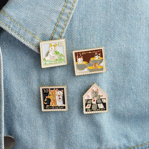 3 Pieces Women's Pins Cute Cartoon Cat Fashion Enamel Brooch Letter Carving Casual