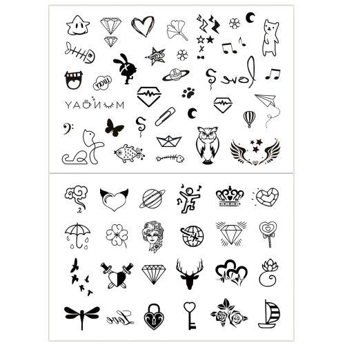 2 Pcs Women's Tattoo Stickers Ladylike Waterproof Temporary Tattoo Longlasting Accessories Letter OL