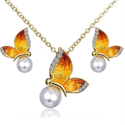 Lucky Doll 3Pcs Women's Necklace & Earring Set Color Block Butterfly Jewelry Set Accessories Vintage