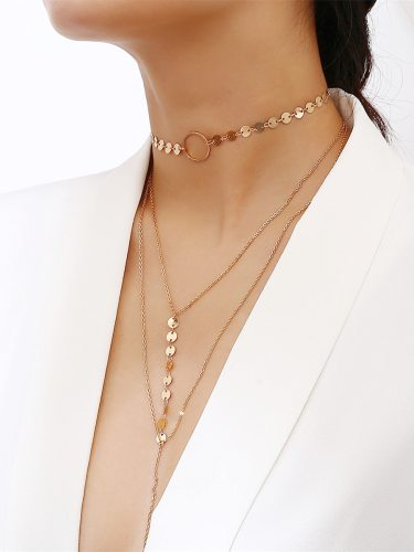 Women's Multi-Layer Tassel Necklace Simple Style Long Chain Solid Color Metal Decoration Accessory Vintage