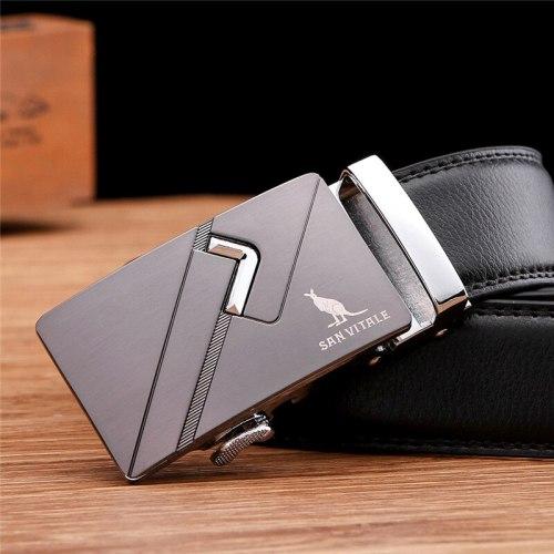 SAN VITALE Men's Belt Automatic Buckle Business Comfy Solid Color Fashion Men's Belts Metal Decoration Accessory