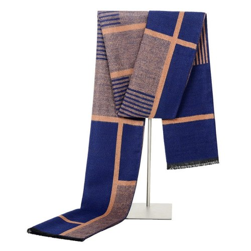 SAN VITALE Men's Scarf Comfy Warm Color Block Tassel Hand wash Winter Scarves Accessory Striped Top Fashion