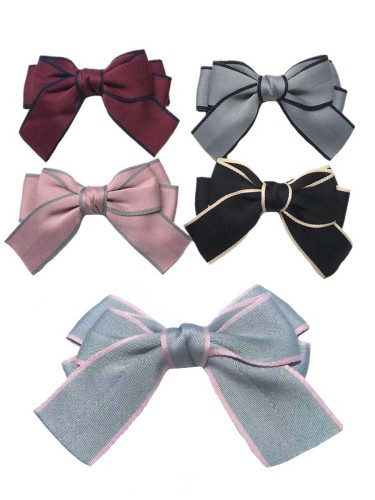 5 Pcs Women's Bow Sweet All Match Fashion Hand wash None Hair Clips