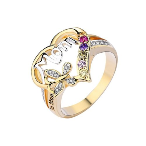 Women's Fashion Rings Solid Color Rhinestone Geometric Shape Sweet Hollow Out Alloy Letter Vintage Celebrity Accessory Metal Decoration