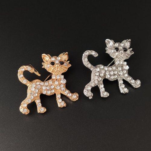 One Piece Women's Brooch Creative Kitten Design Rhinestone Sweet Animal Print