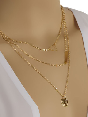 Alloy Layers Pendants Women's Catenary/Necklace Solid Color Fashion round and rectangle shape pendant Adjustable length and lobster clasp The length