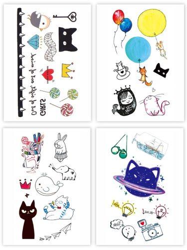 4Pcs Women's Tattoo Sticker Adorable Cartoon Pattern Temporary Creative Print Waterproof Other
