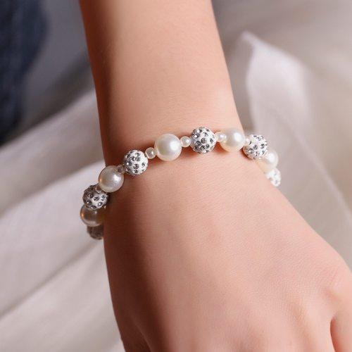 Women's Beaded Bracelet Sweet All Match Bracelet Pearls Multi Gem Solid Color Accessories Luxury Vintage