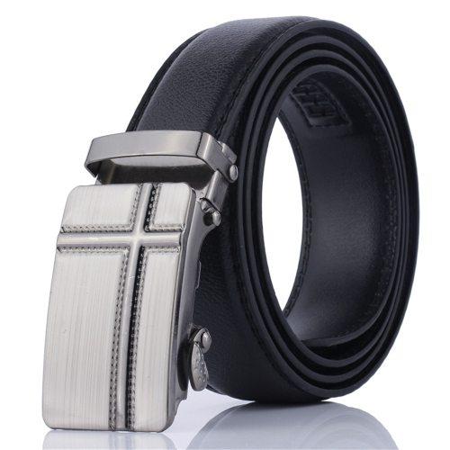 Men's Belt Automatic Buckle All Match Business Accessory Fashion Solid Color Men's Belts Metal Decoration