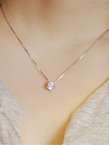 Women's Fashion Necklace Zircon Inlay Simple Style Necklace Fine Casual Solid Color Rhinestone Accessory
