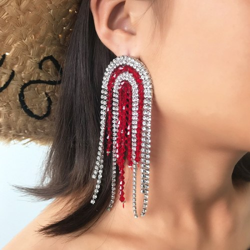 Women's Drop Earrings Tassels Color Block Personalized Earrings Basic Allergy Free Sweet Alloy Inlaid with Artificial Gem/Semiprecious Stone