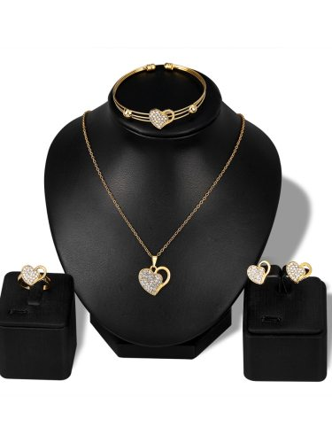 Lucky Doll Women's Whole Set Heart Shape Hollow Out Accessories Basic Rhinestone Catenary/Necklace Geometric