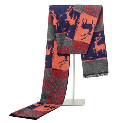 SAN VITALE Men's Scarf Deer Pattern Color Block Comfy Warm Casual Striped Hand wash Winter Scarves Tassel Accessory