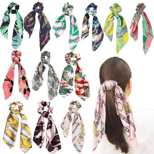 2Pcs Women's Hair Elastics Fresh All Match Hair Fashion Hair Accessories Top Fashion Contrast Color Floral