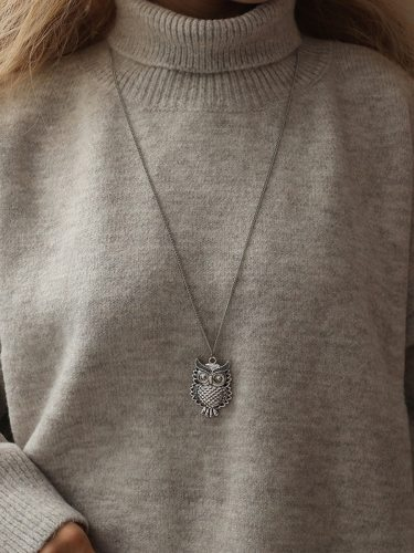 Women's Fashion Necklace Retro Owl Design All Match Solid Color Hollow out Catenary/Necklace Vintage