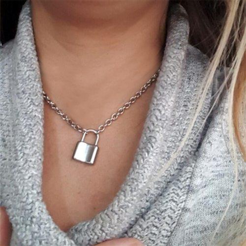Women's Fashion Necklace All-Match Metal Lock Decor Elegant Vintage Metal Decoration Accessories Geometric