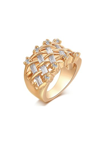 KUNIU Women's Ring Hollow Out Rhinestone Decorative Trendy Accessory Fine