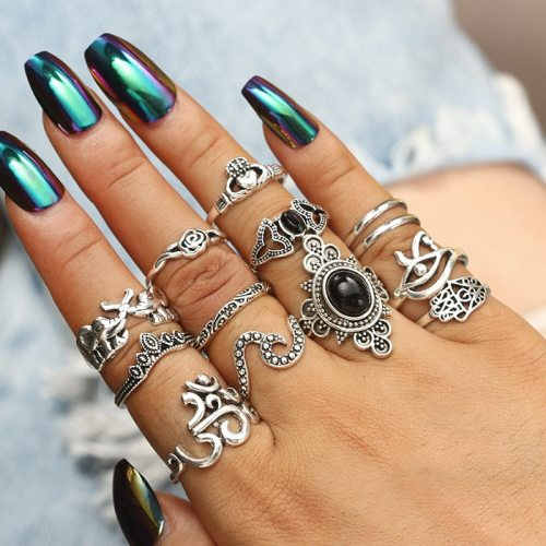 13 Pieces Women's Ring Set Retro Ethnic Palm Flower Imitation Gemstone Elegant Hollow out Accessory Fashion Top Fashion Solid Color