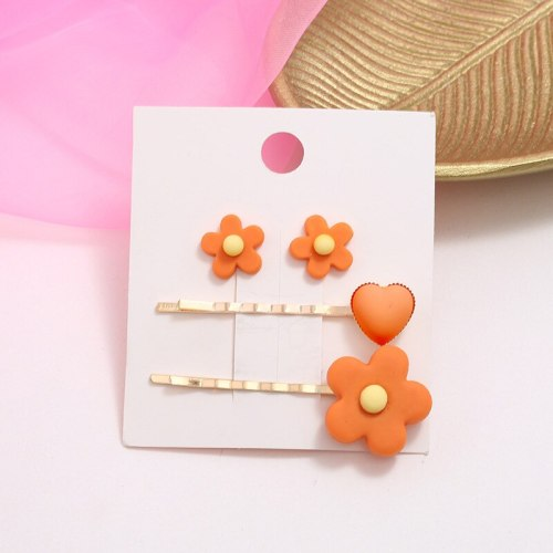 4Pcs Women's Hair Clip & earrings Set Fresh Lovely Flower Pattern Jewelry Set Hair Clips Wipe clean Fine 2pc hair clips + 2pcs earrings