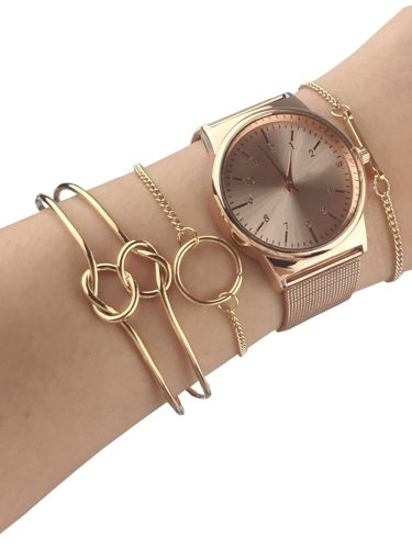 Women's 4 Pcs Fashion Watch Set Chic Bracelet Mesh Belt Watch Gift Letter Jewelry Casual 4-6Pcs Gift Box Solid