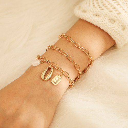 3 Pieces Women's Bracelets Imitation Pearl Shell Elegant Catenary/Necklace Metal Decoration Fashion Animal Casual