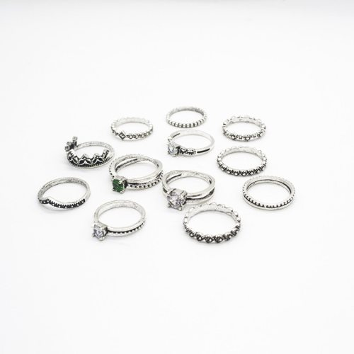 12 Pcs Women's Rings Ladylike Ring Accessory Top Fashion Geometric Vintage Rhinestone