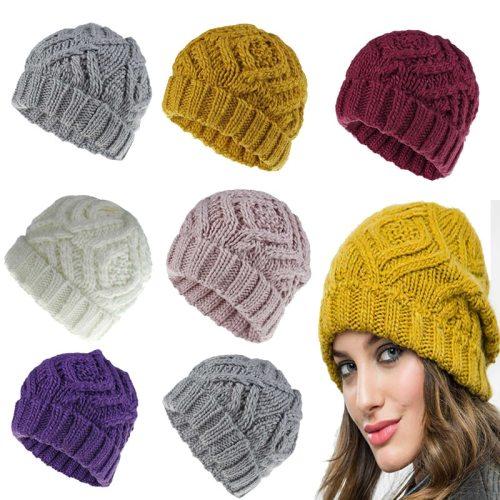 Women's Beanie Knitted Warm Diamond Pattern Winter Skullies & Beanies Plaid Wipe clean Machine Sewing Thread Accessories Celebrity