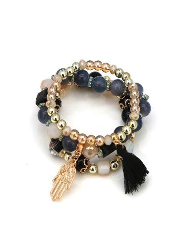 Women's 3 Pcs/Set Beaded Bracelet Tassel Decor Fashion Beading Bracelet Basic Accessory