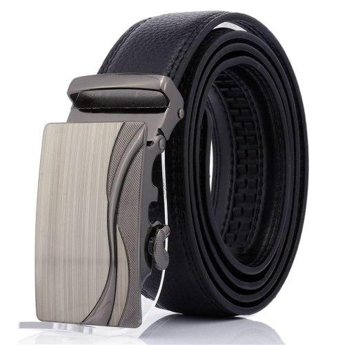 Men's Belt Automatic Buckle Fashion All Match Business Metal Decoration Basic Accessory Solid Color Men's Belts