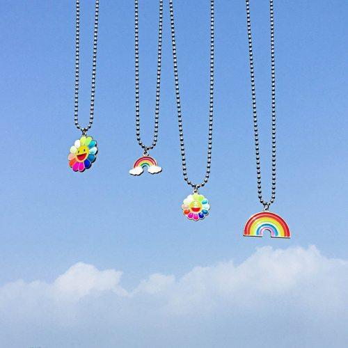 One Piece Women's Fashion Necklace Rainbow Design All Match Fine Metal Decoration OL Accessory Floral