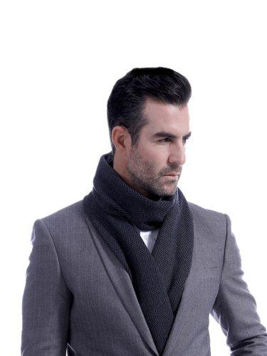 Men's Scarf Chevron Pattern Simple Design OL Style Accessory Winter Scarves Top Fashion Hand wash