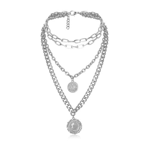 Women's Multi-Layer Necklace Vintage Tassels Pendant Necklace Metal Decoration Solid Color Accessory Fine Celebrity