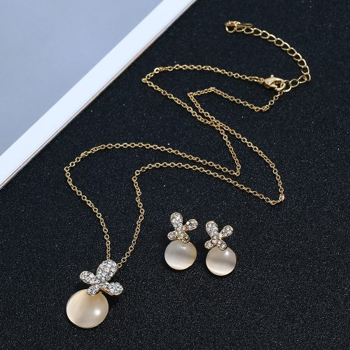 3Pcs Women's Necklace & Earring Set Lovely All Match Jewelry Set Accessories Top Fashion Ribbons Geometric