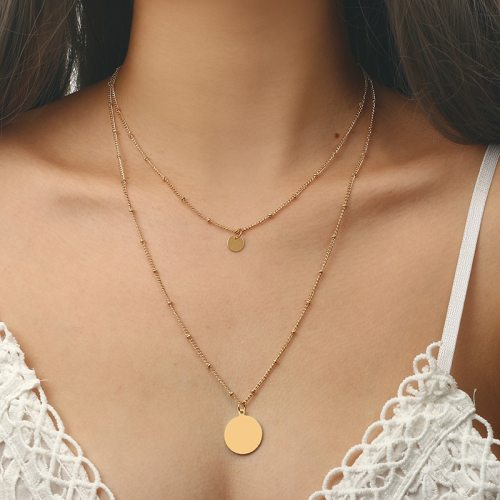 Women's Multi-Layer Necklace Retro Geometry Round Elegant Solid Color Top Fashion Accessory Metal Decoration