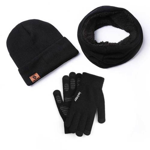 3Pcs Gloves Set Thickened Hat Warm Scarf Plain Style Gloves Geometric Accessory Contrast Color Punk Fashion Machine wash