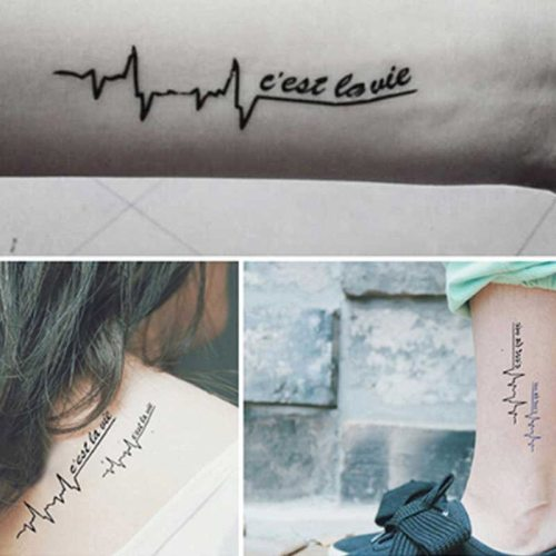 Women's Tattoo Sticker Cardiogram Design Creative Tattoo Geometric Letter Pastoral Accessory Waterproof