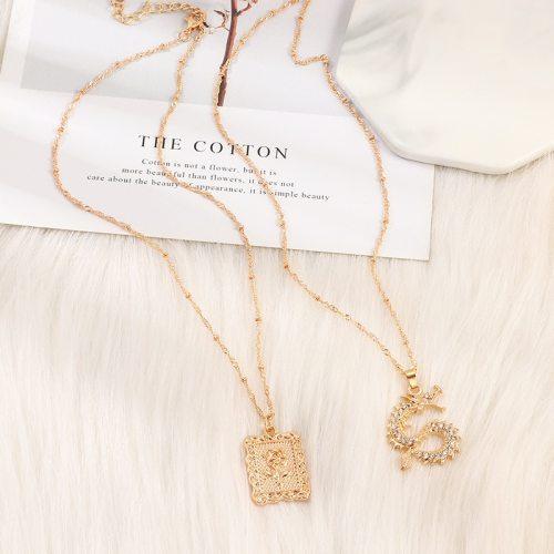 Women's 2 Pieces Necklaces Simple Rhinestone Rose Elegant Fashion Vintage Animal Metal Decoration Accessories