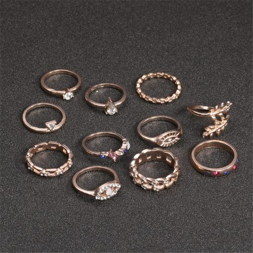 11Pcs Women's Ring Set Leaf Shape Geometric Pattern Stylish Rings Accessories Fashion