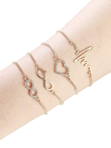 4 Pcs Women's Woven Bracelet Stylish Weaving All Match Accessory Fashion