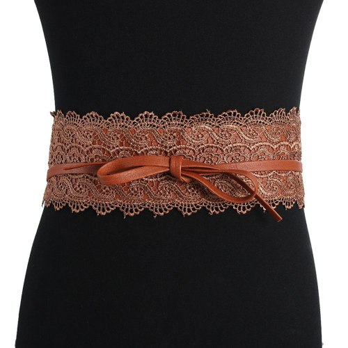 Women's Corset Lace Design Solid Color Stylish Two-loop Fashion Patchwork Wipe clean Women's Belts Accessories Bow