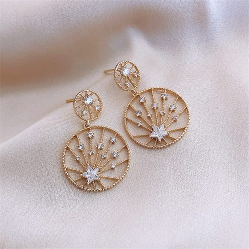 Women's Drop Earrings Star Simple Accessory Round/Circle Sweet Allergy Free Geometric Metal Decoration Fashion Alloy Inlaid with Artificial Stone